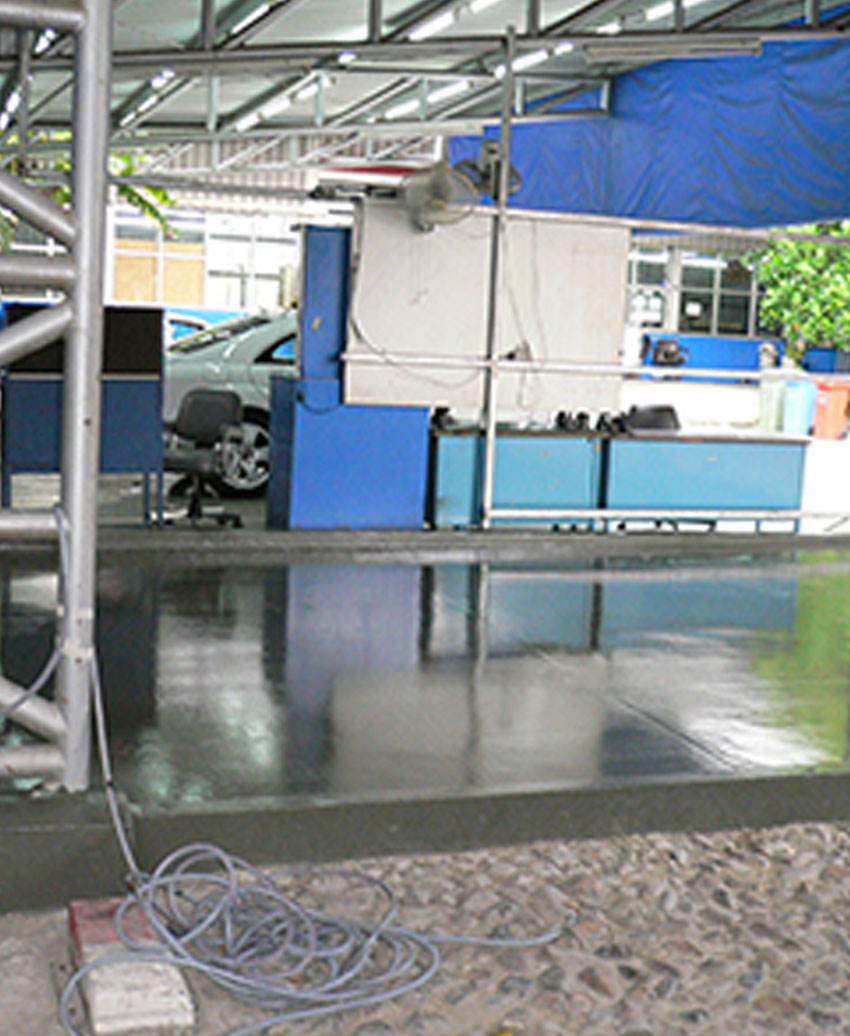 Car park with epoxy coating type